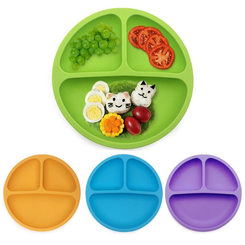 Plato de comedor de silicona para bebés, vajilla, vajilla para almacenar alimentos, platos de frutas, platos de alimentación para niños, cuencos, bandeja Anti-caída BB5160