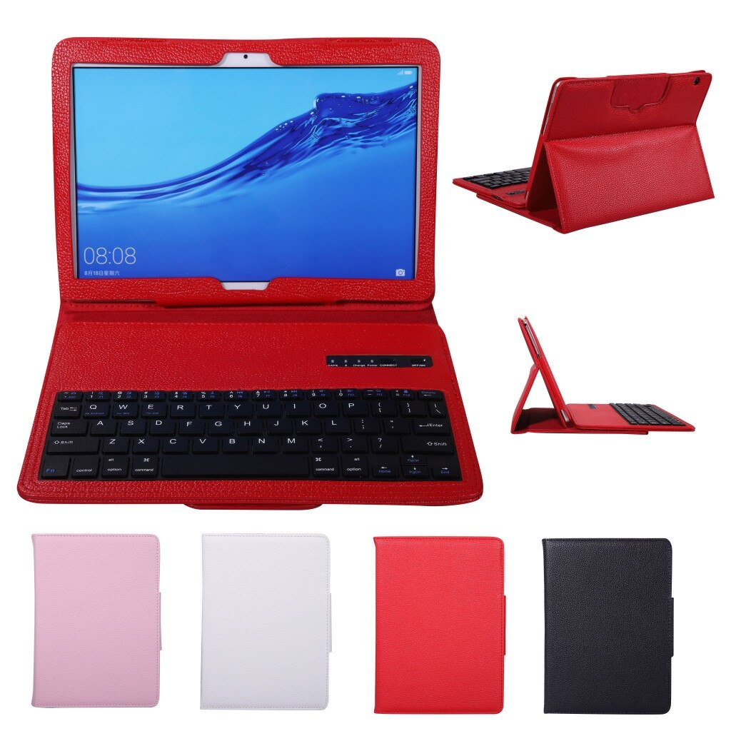 Voor Huawei Mediapad T5/C5 10.1Inch Case + Draadloze Bluetooth Keyboard Cover Met Auto Sleep/Awake Pu + Lederen Ultra Slim Ultra Slanke