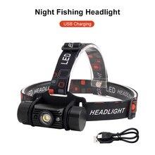 LED capteur ondé phare USB Rechargeable longue portée monté sur la tête Camping vélo lampe de poche pêche phare détachable