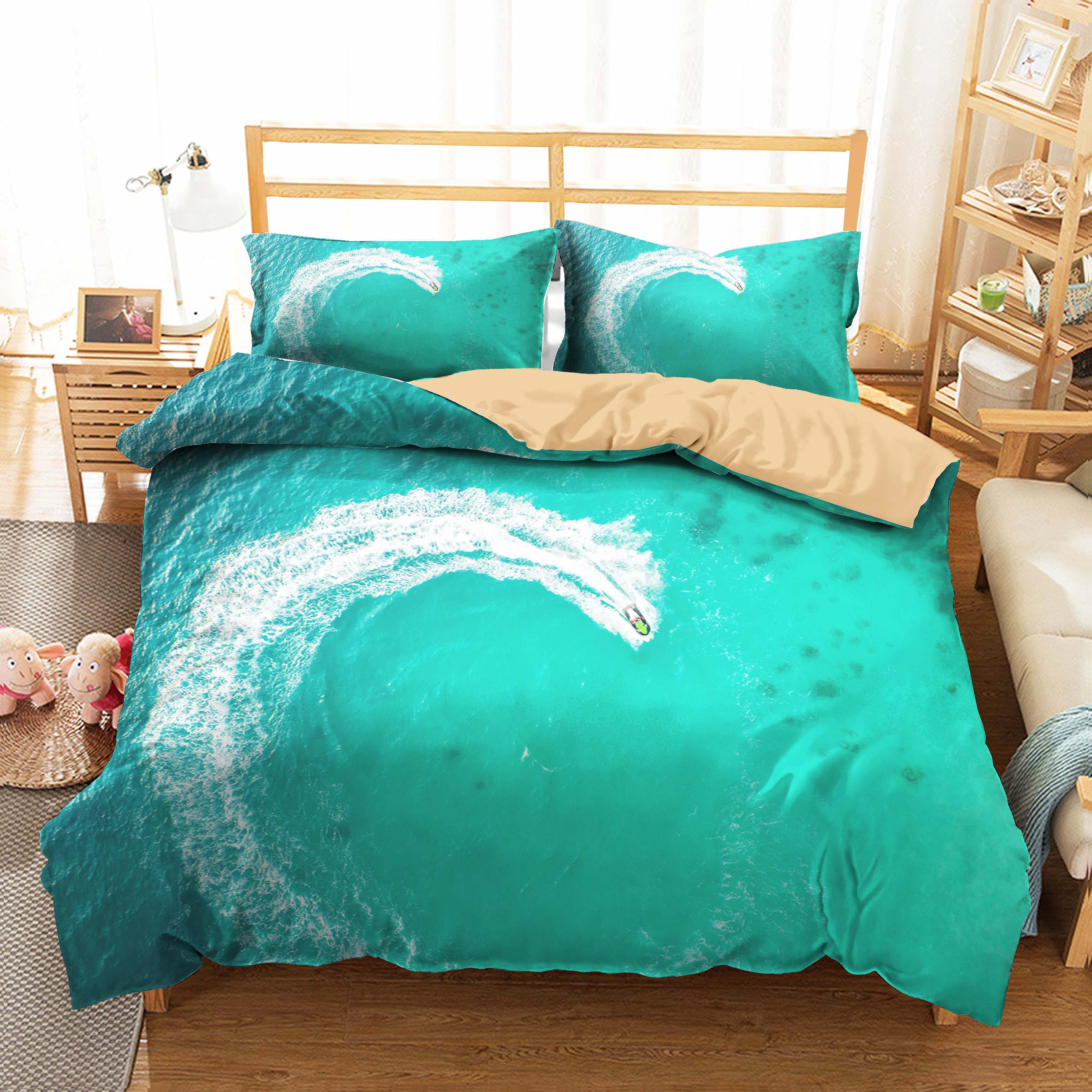 3d Bed Linen Sea Wave Printed Duvet Cover Set Home Textiles Polyester Material Queen Double Single Size with Pillowcases