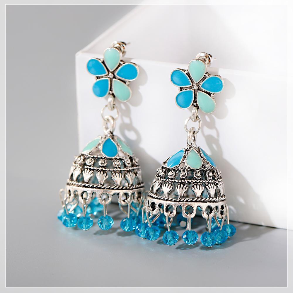 2020 Tailandia India regalo para fiesta pendientes de moda aleación flor en forma de gota de agua jaula colgante pendientes de cristal borla