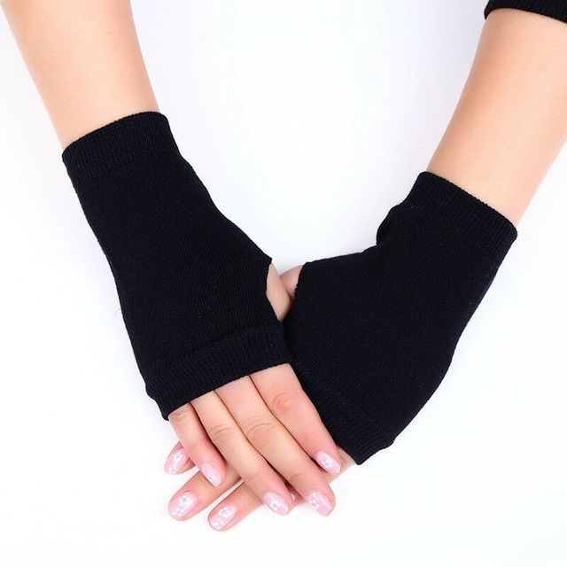 1 Pair Women Solid Cashmere Warm Winter GlovesWinter Gloves Female Fingerless Gloves Women Hand Wrist Warmer Mittens