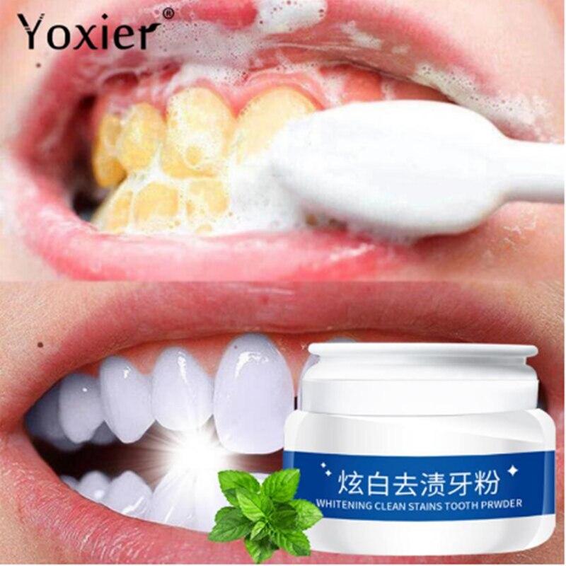Отбеливающий порошок Yoxier для зубов, удаление пятен от зубного налета, зубная паста, стоматологические инструменты, белая чистка зубов, фото...