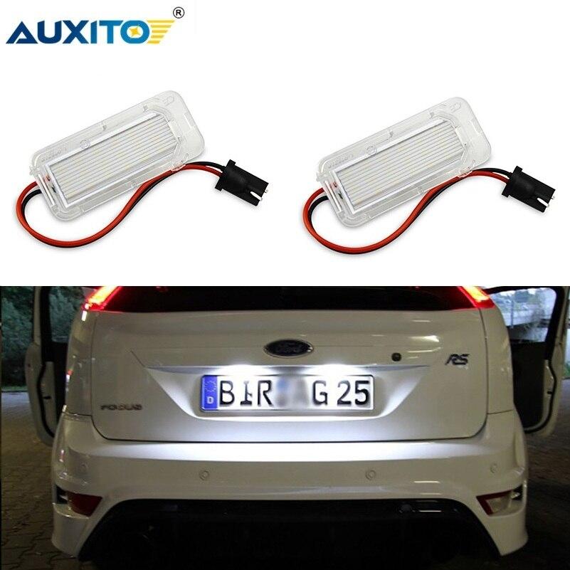 2pcs Canbus LED Anzahl License Platte Licht Für Ford Focus 5D Fiesta Mondeo MK4 C-Max MK2 S-Max Kuga Galaxy 6000K Weiß Auto Lampe