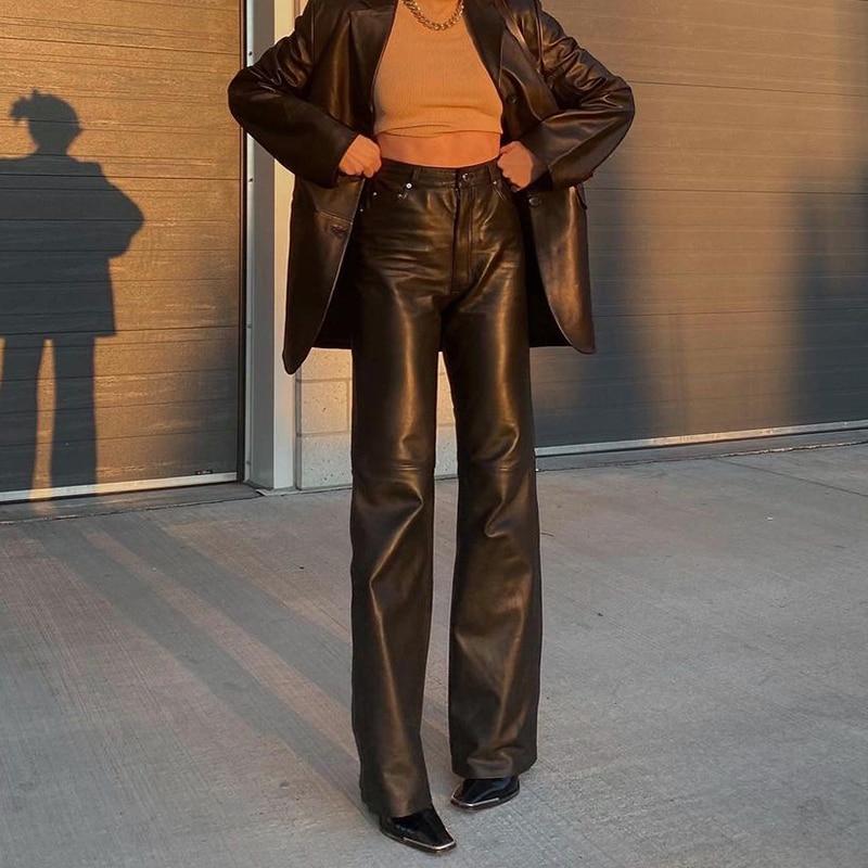 Черные женские брюки из искусственной кожи, новинка 2021, прямые брюки, модные черные мешковатые брюки в стиле Харадзюку, повседневные Элеган...
