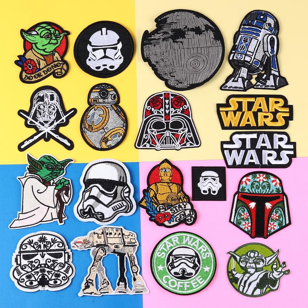 Parches bordados de la película Star Wars, parches negros para planchado de ropa de motorista, ropa de motorista, aplique de motocicleta, insignia, pegatina de rayas