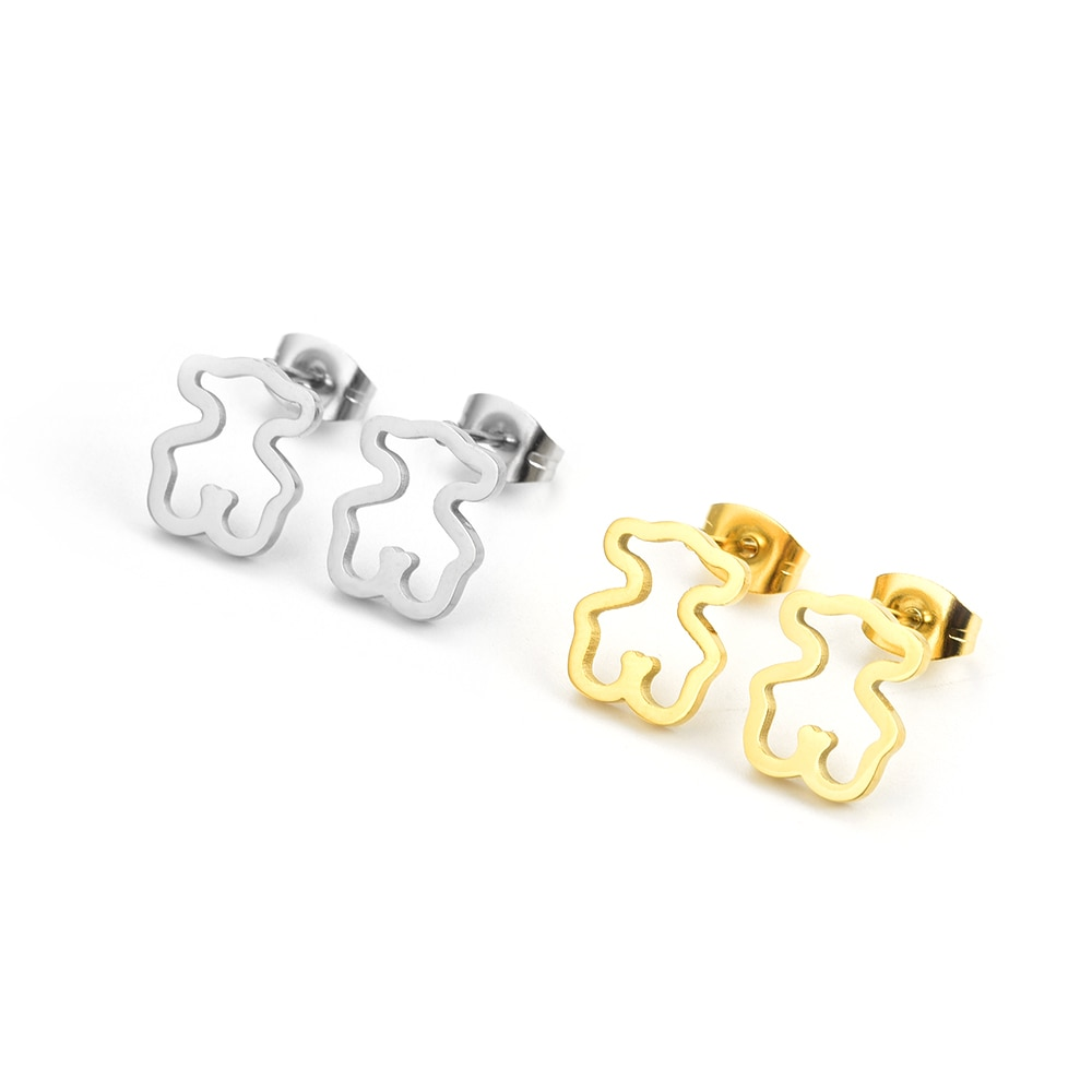 bear earrings and gold color earrings stainless steel earring lover gift mama gifts top high qaulity