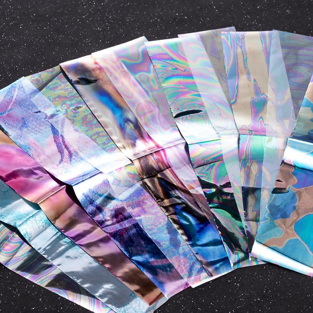 12 verschiedene Farbe Gebrochen Glas Starry Nagel Folien 4*20cm * 12 bunte Nail art Aufkleber Decals Fashion shinning DIY Schönheit Werkzeug