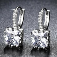 charm women square rhinestone earrings exquisite cz crystal pendant earrings 2021 hot sale elegant lady romantic wedding jewelry