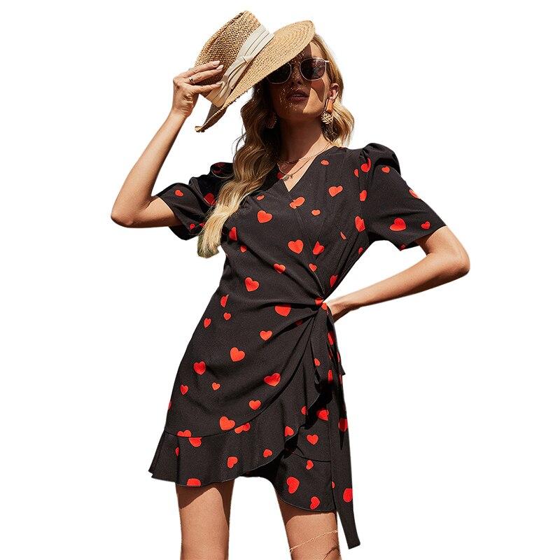 Women Sexy V-Neck Short Sleeve Sweet Love Print Mini Ruffle Wrap Fishtail Dress with Self-tie Sundress ruffle trim striped self tie waist dress