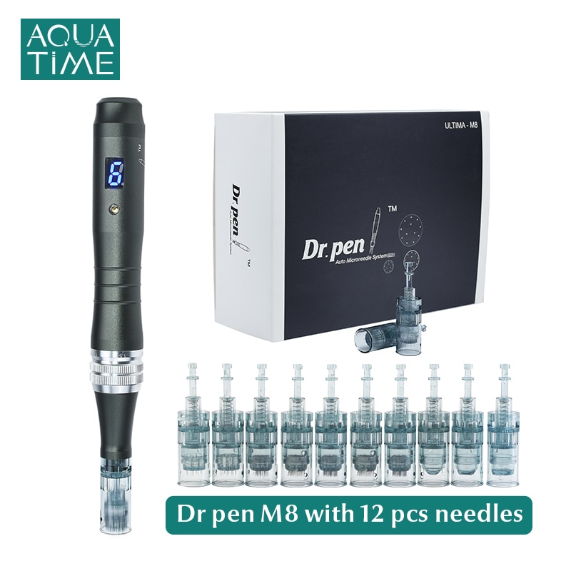 Dr Pen Ultima M8 with 12 Pcs Needle Cartridges Professional Wireless Microneedling Derma Pen Skin Care Acne Scar Removal Tool