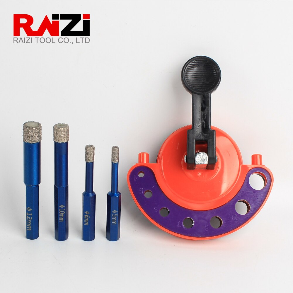 Raizi 4pcs Vacuum Brazed Diamond Drill Bit With 1pc Positioner Sucker 5mm 6mm 10mm 12mm Hole Saw Cutter For Marble Tile Granite