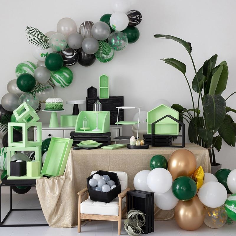 SWEETGO зеленые и черные деревянные стеллажи для хранения динозавров серии украшения подставки для десертов подносы столик для торта Детские ...