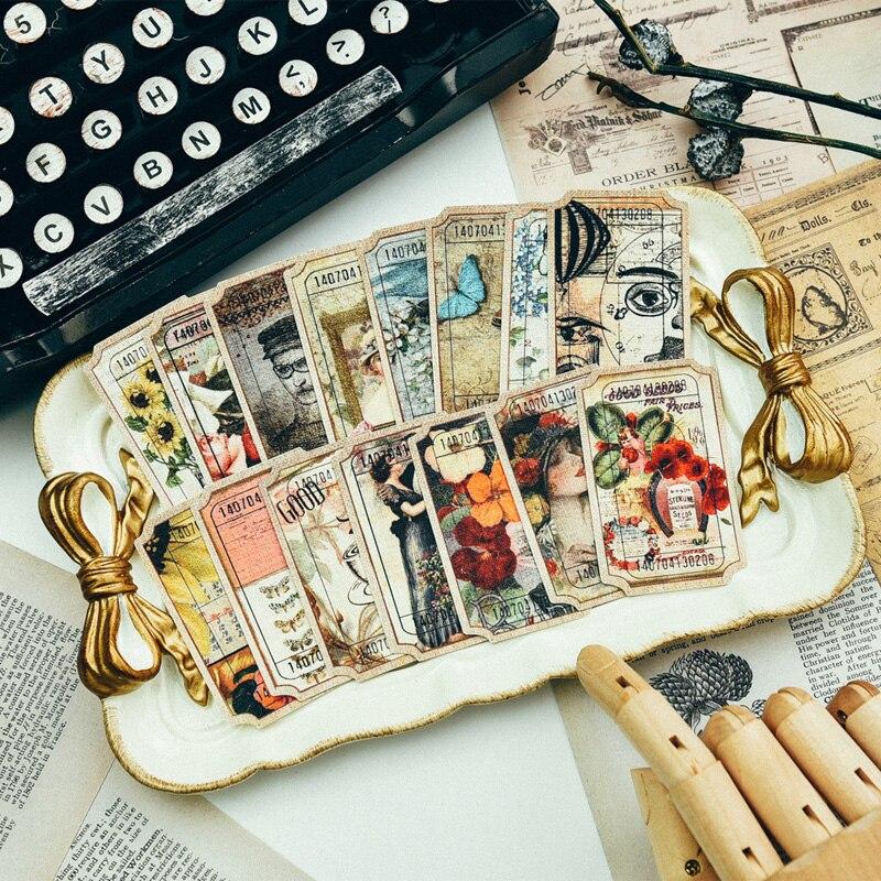 81 stücke Vintage Ölgemälde Stil Tag Label Karton Gestanzte Papier Pack für Scrapbooking Glücklich Planer/Karte, Der/Journa