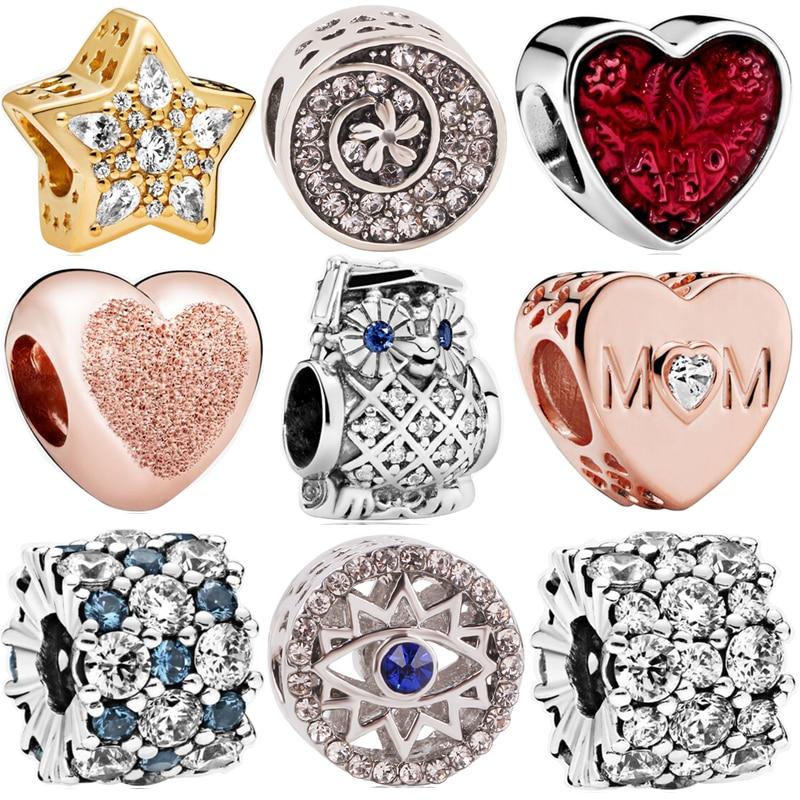 Fit Pandora Bracelets Women DIY Lovers Silver Color Christmas Star Leopard MOM School bag Headset Charms Beads Pendant