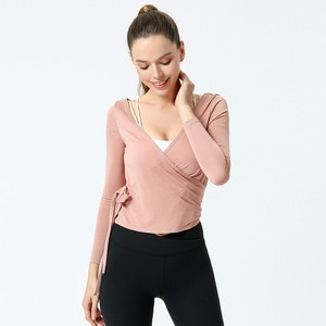 Autumn New Style Bandage Cloth Waist Hugging Yoga Woman V-neck Tight Tops Long Sleeve Sports Gym Clothes Slimming Body-hugging