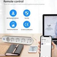 Adaptateur de sortie WiFi Smart 4 EU  controle vocal  moniteur denergie  minuterie  prise Homekit  par Tuya Alexa Google Home
