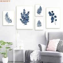Ink Blue Fern Prints Watercolor Indigo Leaf Botanical Art Canvas Painting Posters , Ink Blue Eucalyptus Foliage Home Wall Decor