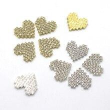 high quality! 10 pcs full diamond rhinestone peach heart jewelry decoration wedding metal accessories button hair bow DIY crafts