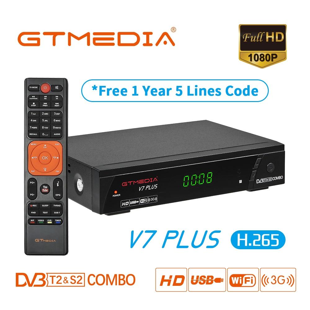 GTMEDIA V7 PLUS Set Top Box mit kostenloser Cccam Clines für 3 jahr Spanien Europa DVB-T2/S2 Rezeptor H.265 AC3 AC3 + Satellite Empfänger