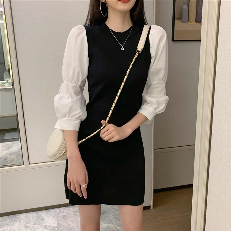 Las mujeres de vaina vestido negro mujer vestido de Patchwork manga Puff Mini vestidos para mujer