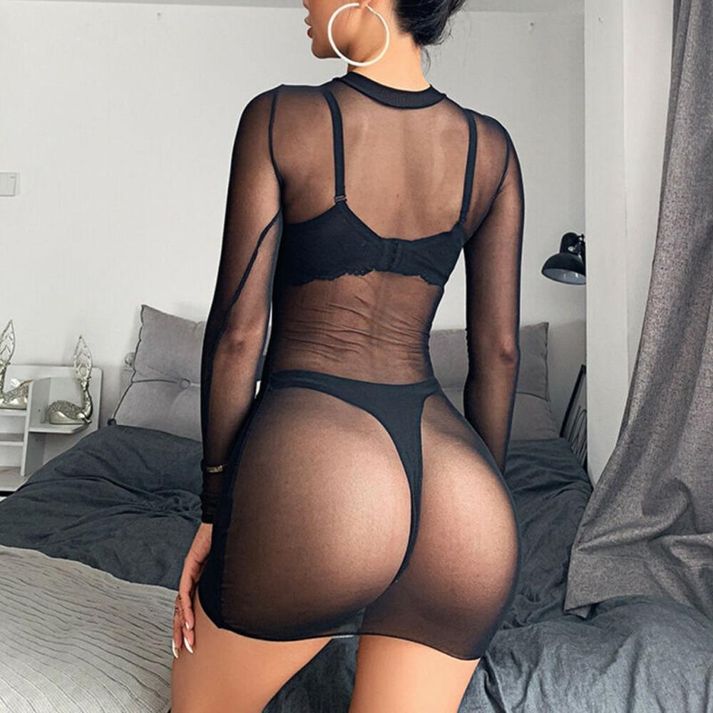 Сексуальное женское белье размера плюс, прозрачное Сетчатое прозрачное клубное мини-платье с длинным рукавом, ночная одежда черного цвета 1 #