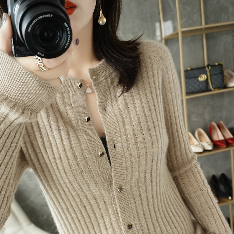 AliExpress - Cashmere cardigan women 2021 new solid color casual knitwear round neck 100% wool sweater plus size ladies tops Slim hot