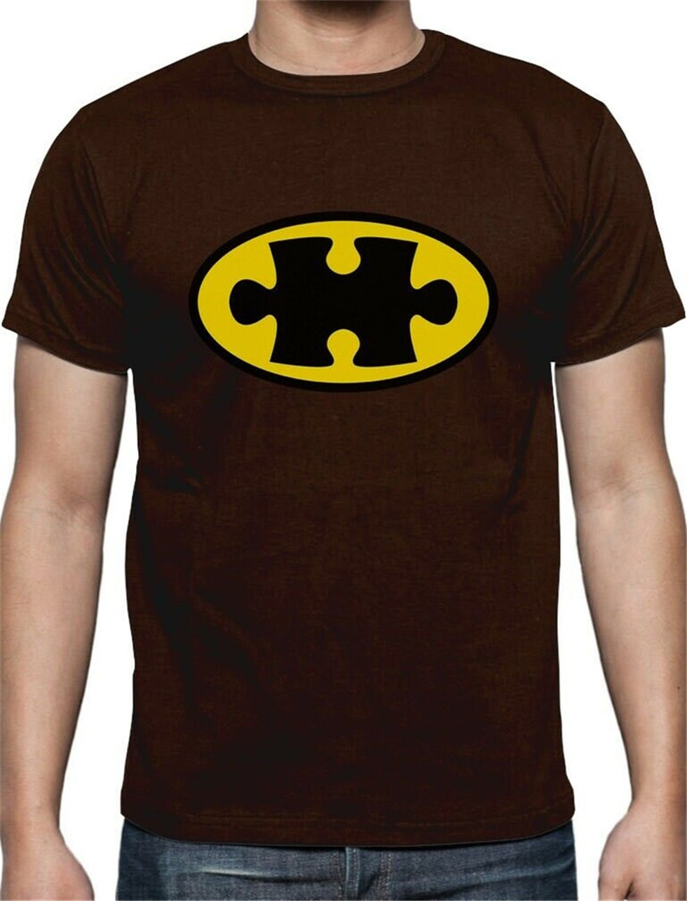 Camiseta del logotipo del rompecabezas del superhéroe de la concientización del autismo admite la causa para la camiseta de la edad media de la tercera edad