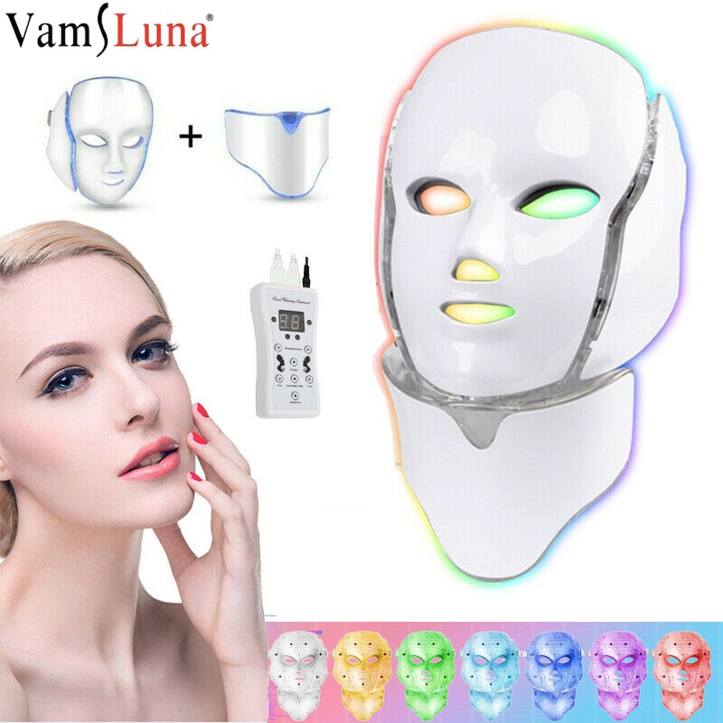 3 colors led photon therapy machine skin rejuvenation light therapy anti wrinkle acne removal beauty face care tool 7 Colors Photon Therapy Led Facial Mask Skin Rejuvenation Tighten Acne Anti Wrinkle Korean Face Neck Beauty Spa Instrument