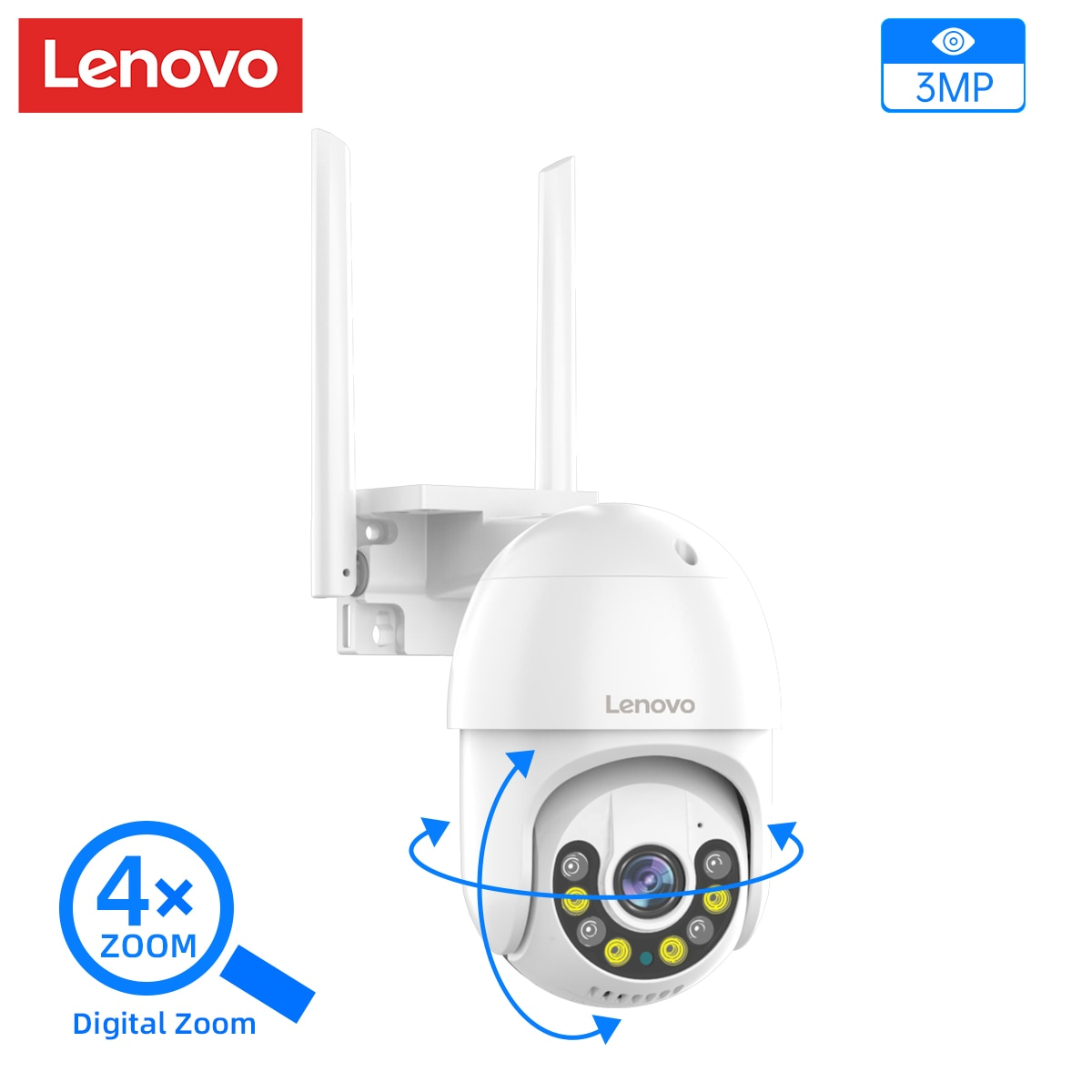 Lenovo 3MP Security Camera PTZ WIFI IP Camera Outdoor 4X Digital Zoom Night Full Color Wireless P2P Security CCTV Auto Tracking