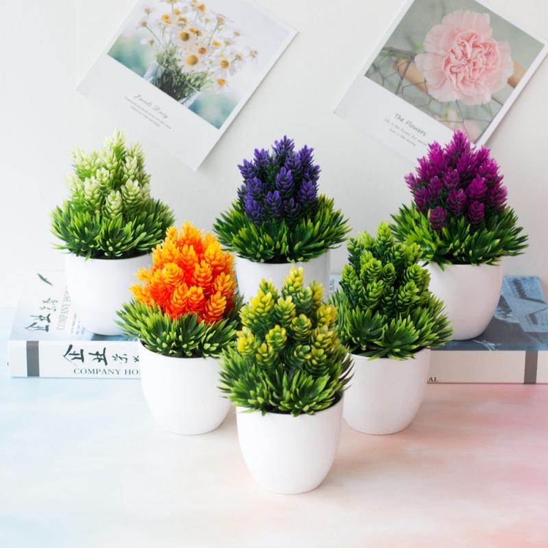 Искусственные растения, зеленые бонсай, зеленые растения, маленький бонсай, маленькие горшочные растения, искусственные цветы, зеленые при...