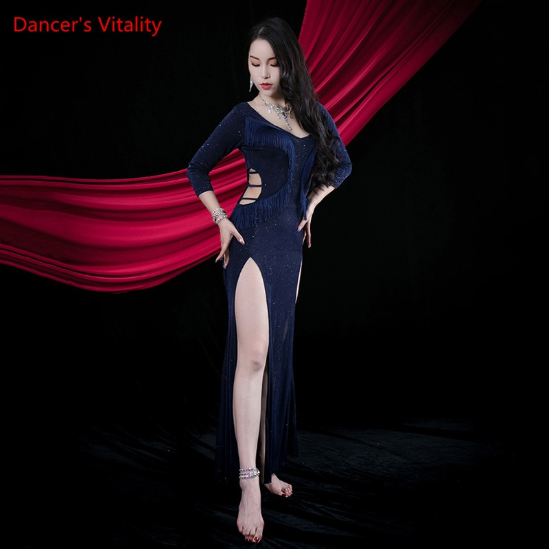 فستان رقص شرقي مطرز بالترتر ، ياقة على شكل v ، تنورة طويلة ، ملابس ممارسة ، أنيقة ، للأداء المسرحي