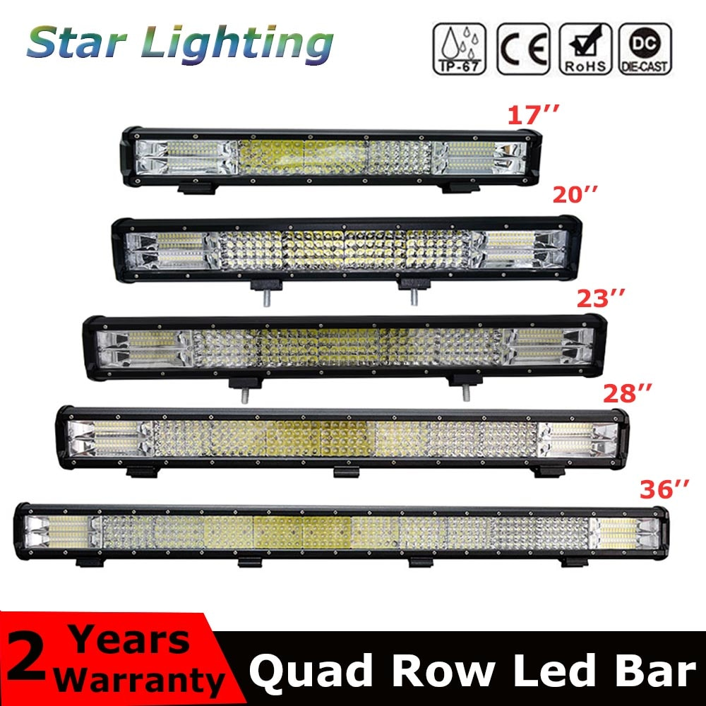9D Quad fila LED Bar 4 / 7 / 12 / 20 / 22 / 28 / 36 pulgadas Offroad LED Light Bar para barco coche Tractor camión 4x4 ATV 12V 24V