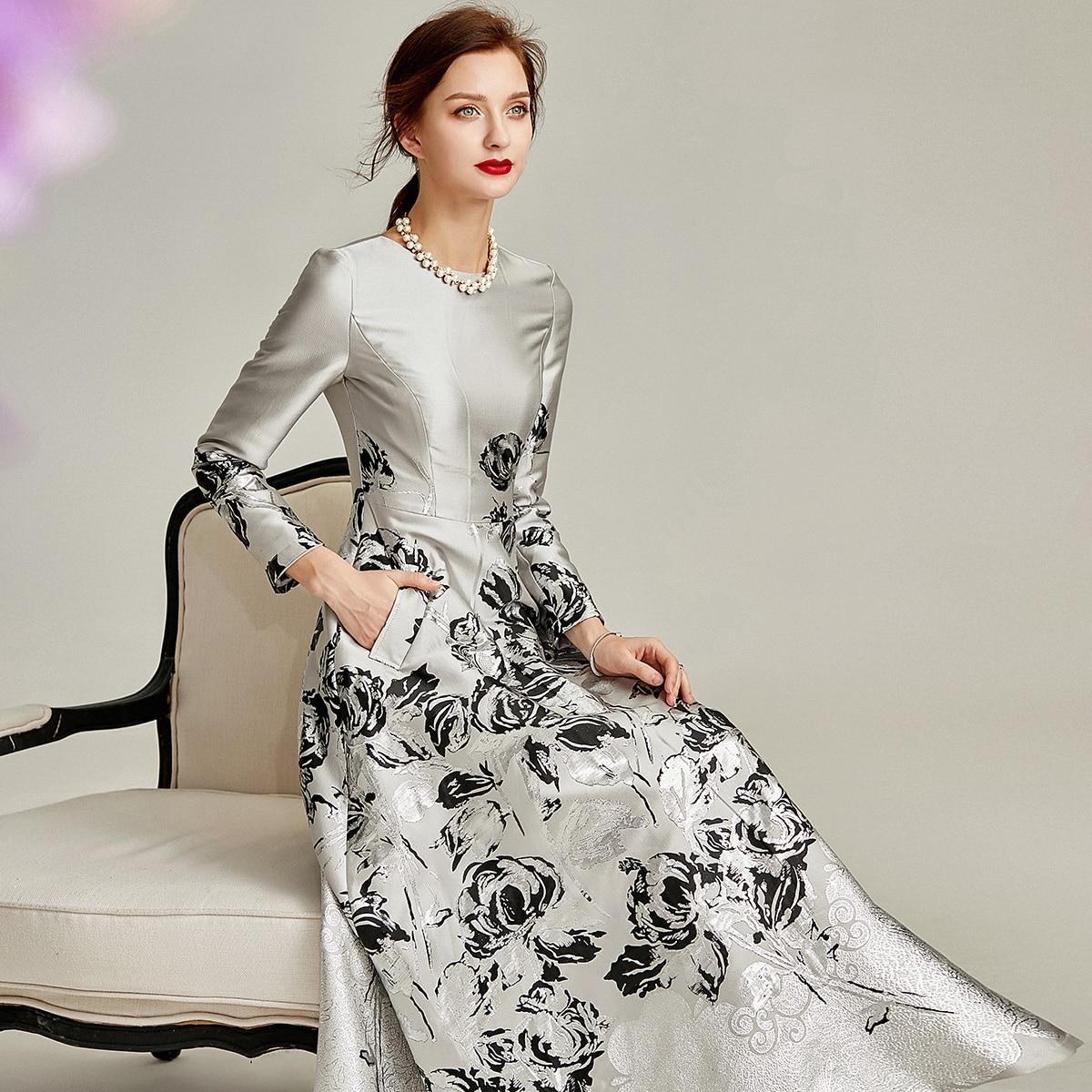 2021 ربيع الخريف فستان جاكار س الرقبة فستان بروكيد المرأة كم طويل ملابس الحفلات المسائية منتصف العجل الكرة ثوب 07