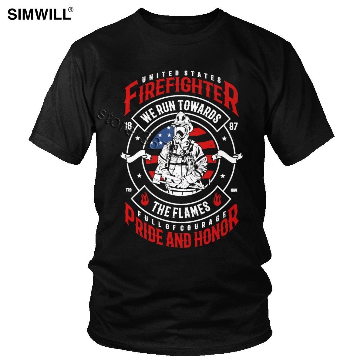Eua herói bombeiro t camisa dos homens do vintage manga curta algodão cheio de coragem orgulho honra t nós correr para as chamas camiseta