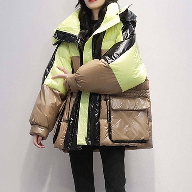 Janveny, abrigo suelto de plumón, Parka larga para mujer, chaqueta de plumón de pato blanca de invierno 2020, Parkas femeninas con capucha gruesa, ropa de abrigo larga cálida para nieve