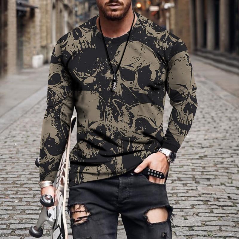 Повседневная мужская облегающая футболка с круглым вырезом и 3D-принтом черепа, Модный пуловер, Мужская футболка оверсайз с длинными рукава...