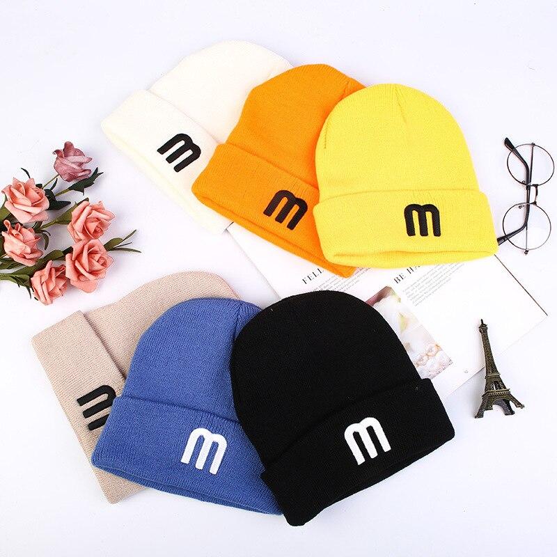 Осень-зима новые модные кейсы конфетных-Цвет ed шерстяные шляпы для мужчин и женщин; Однотонная одежда Цвет пара трикотажные шапки холодной ...
