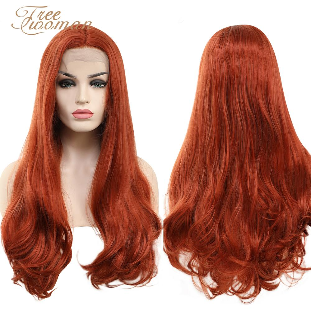 """FREEWOMAN Lace Front Wig 24"""" Long Natural Wavy Copper Red Synthetic Wig for Women 30# Glueless Replacement Swiss Lace Wigs"""