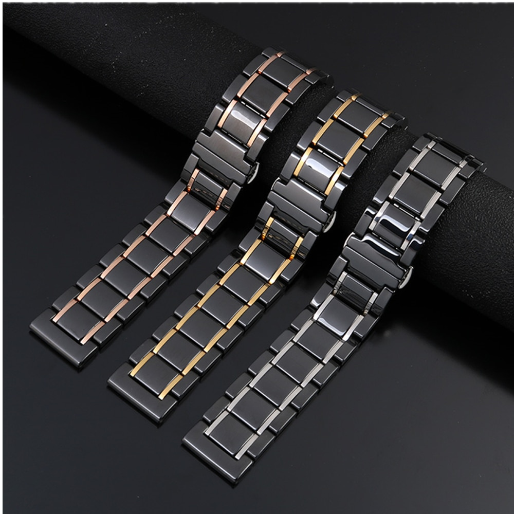 20mm 22mm ceramics watchbands for samsung galaxy watch 46mm active 2 band for amazfit bip gts huawei watch gt 2e 2 strap correa enlarge
