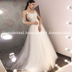 3/4 Length Sleeves Boho Wedding Dresses Nude Tulle With Ivory Appliques Summer Beach Bridal Dresses Russian Bride robe de mariee