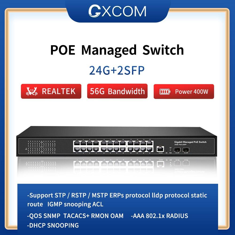 Фото - 24 Port 10/100/1000Mbps Ports Managed POE Switch With 2 Gigabit SFP Slots  24 Gigabit switch 24 ports poe switch with 2 gigabit sfp port 400w poe switch 24 port full gigabit switch