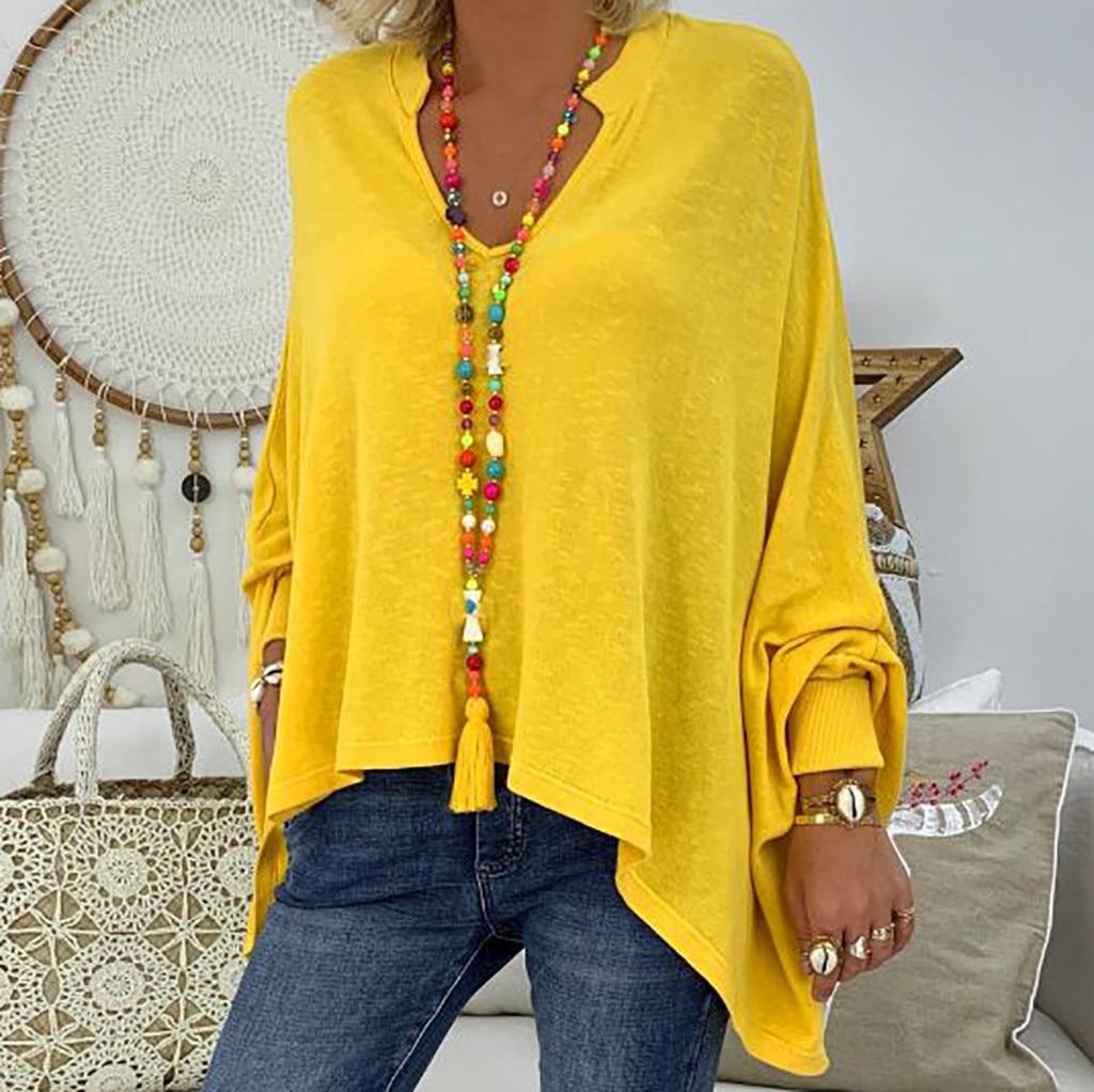 Fashion Womens Blouses Loose Plus Size Solid Long Sleeve V-neck Shirt Pullover Blouse Tops Shirt  blusas femininas elegant 7.26