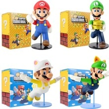 21-23cm Super Mario Bros 2 Luigi Mario Action Figure Anime New Flying Gold coin Mario Luigi PVC Model Toys Gift for Children