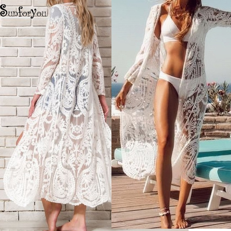 Embroidery Mesh Cover up Bathing suit Cover ups Kimono Beach Kaftan Sarong Beach Wrap Robe de Plage Bikini Cover up Beachwear