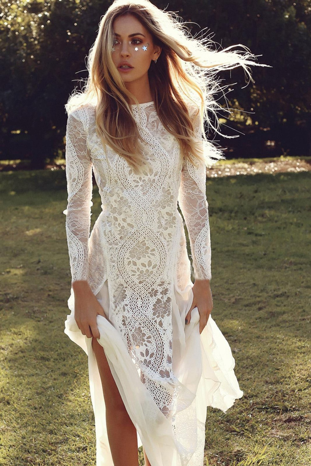 Sexy Hollow Lace Long Maxi Dress Women Summer Long Sleeve Backless Mesh Party Beach Wedding Dress Elegant Bodycon White Clothes