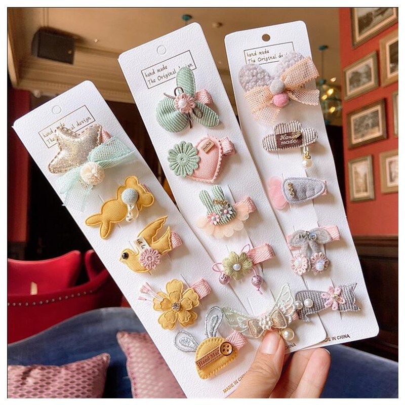 Cotton Cloth Hair Clips for Girls Toddlers Animal Crown Stars Hairpins Baby Barrettes 5pcs/set Kids Hair Accessories 1 set 5pcs girls flowers hair clips cartoon hairpins toddlers kids children animal bow safe barrettes hair accessories headwear