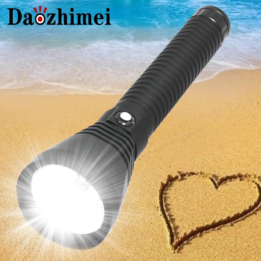 8000 Lumens Powerful led flashlight XHP70 LED Diving flashlight Underwater100M waterproof lanterna White Light Fishing lights