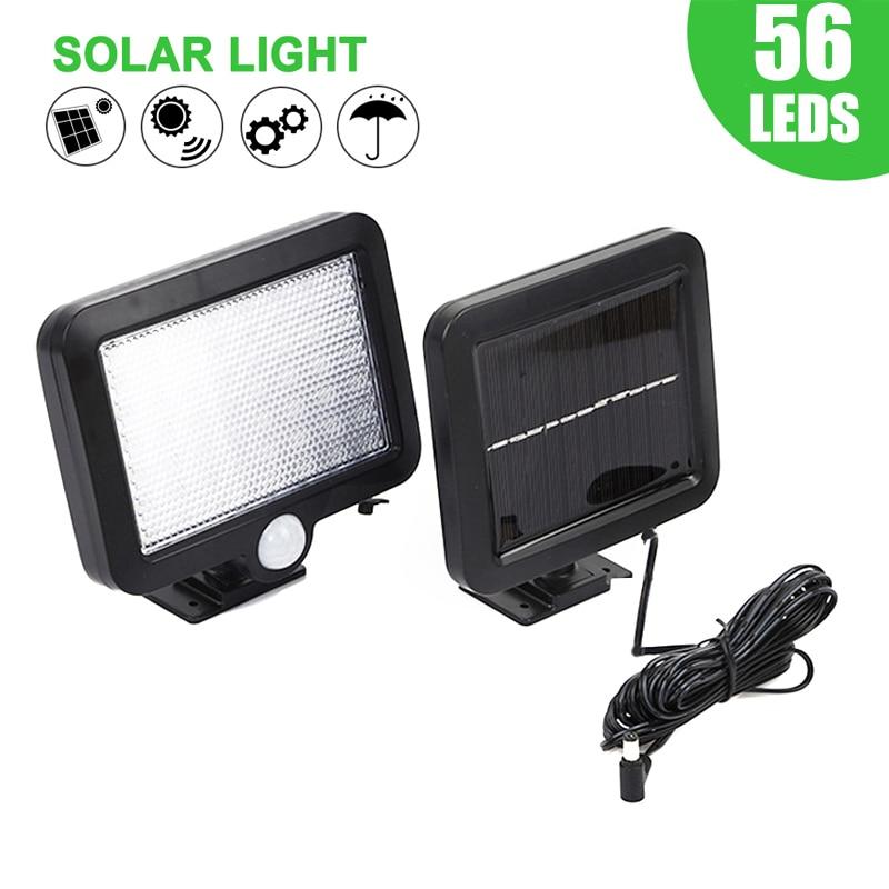 30/56 luz LED Solar para jardín PIR Sensor de movimiento al aire libre impermeable Separable colector Solar luces garaje Patio de seguridad lámpara