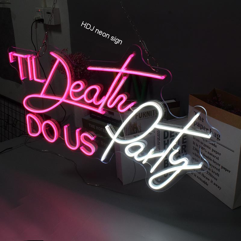 Til Death DO US Party Neon Sign Flex Led Text Neon Light Sign Led Text Custom Led Neon Sign Home Room Decoration Ins Party